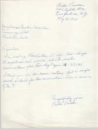 Letter from Belle Pinson to Coming Street Y.W.C.A. Registrar, May 31, 1967