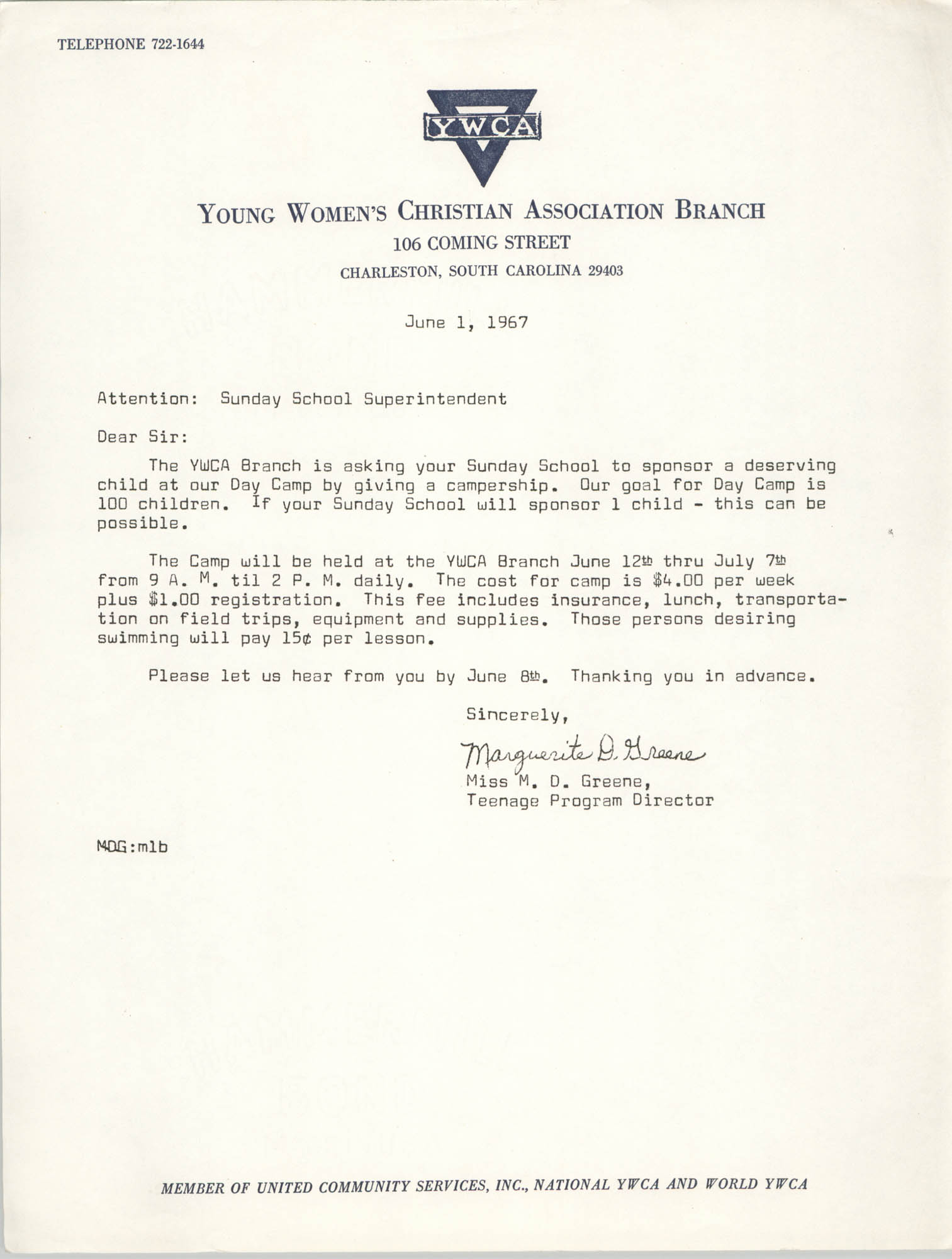 Letter from Marguerite D. Greene, June 1, 1967