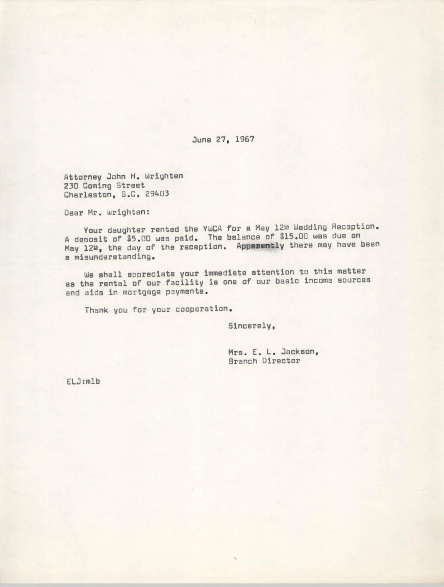 Letter from Christine O. Jackson to John H. Wrighten, June 27, 1967