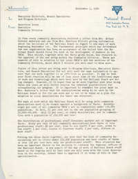 National Board of the Y.W.C.A. Memorandum, September 1, 1950
