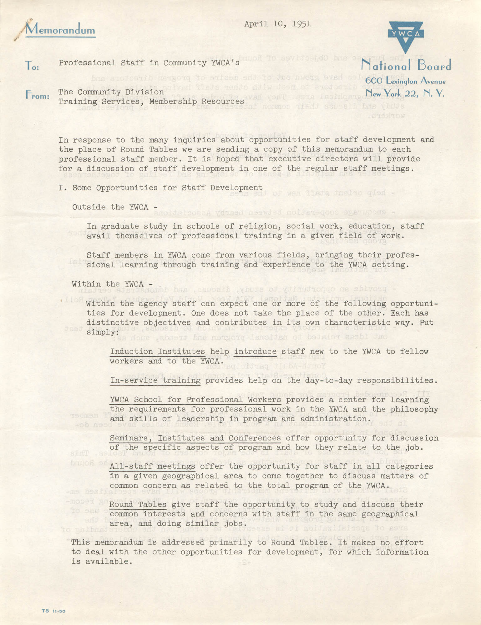 National Board of the Y.W.C.A. Memorandum, April 10, 1951