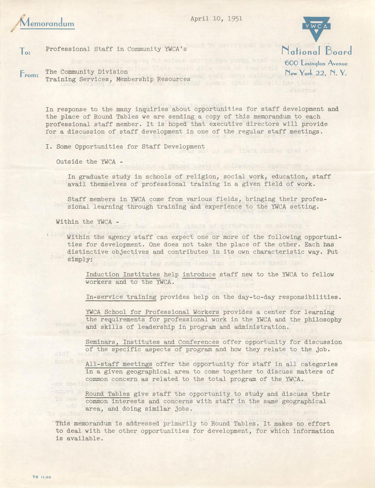 National Board of the Y.W.C.A. Memorandum, April 10, 1951