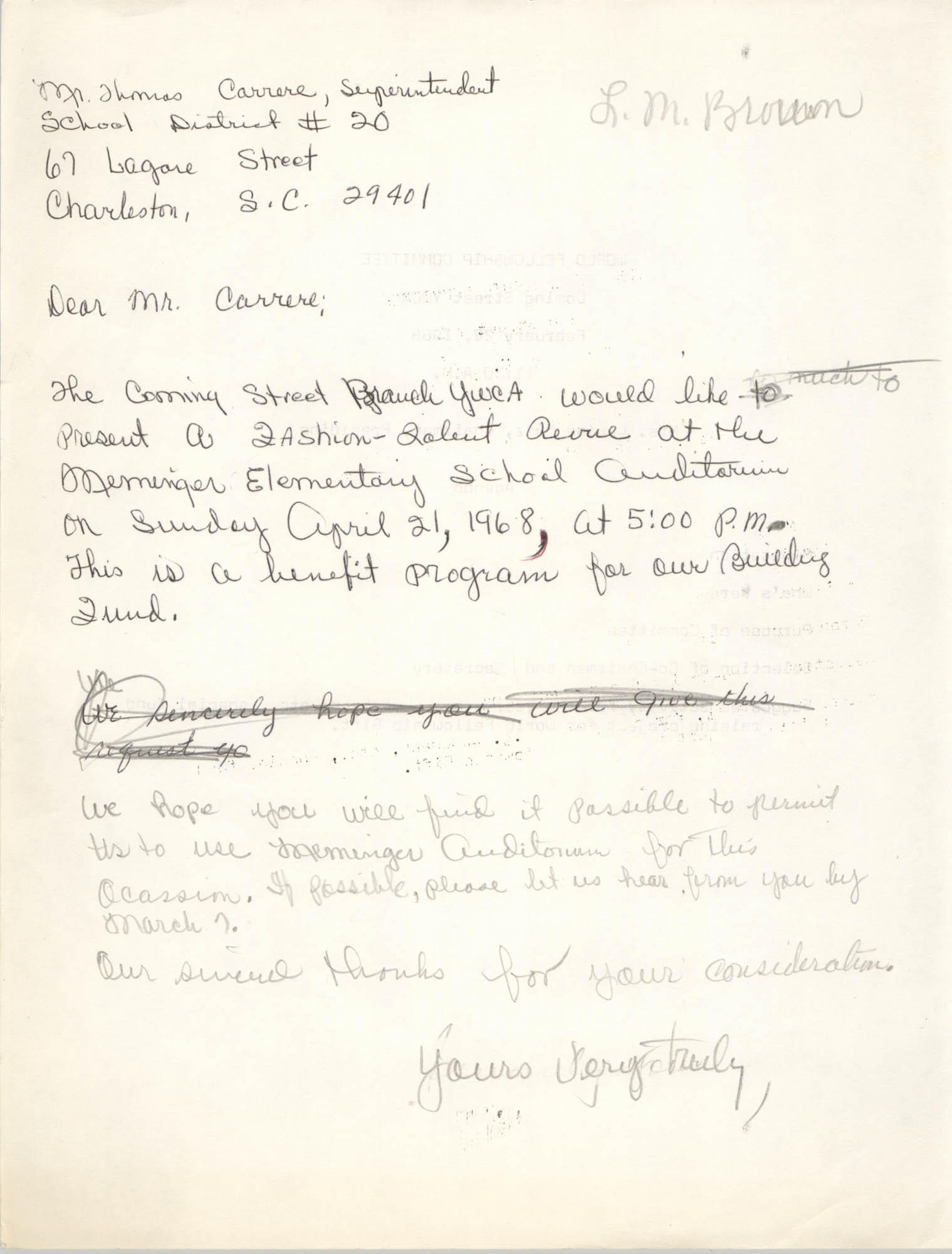 Letter to Thomas Carrere, April 1968