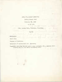 Agenda, World Fellowship Committee, Coming Street Y.W.C.A., February 28, 1968