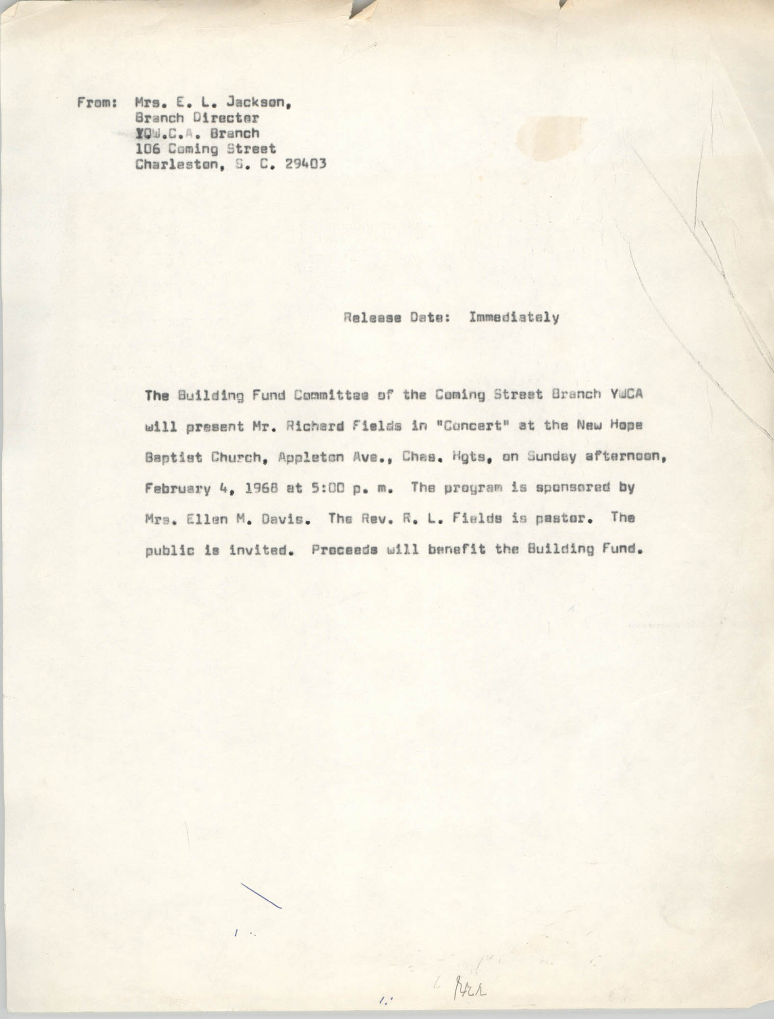 Coming Street Y.W.C.A. Press Release, February 4, 1968