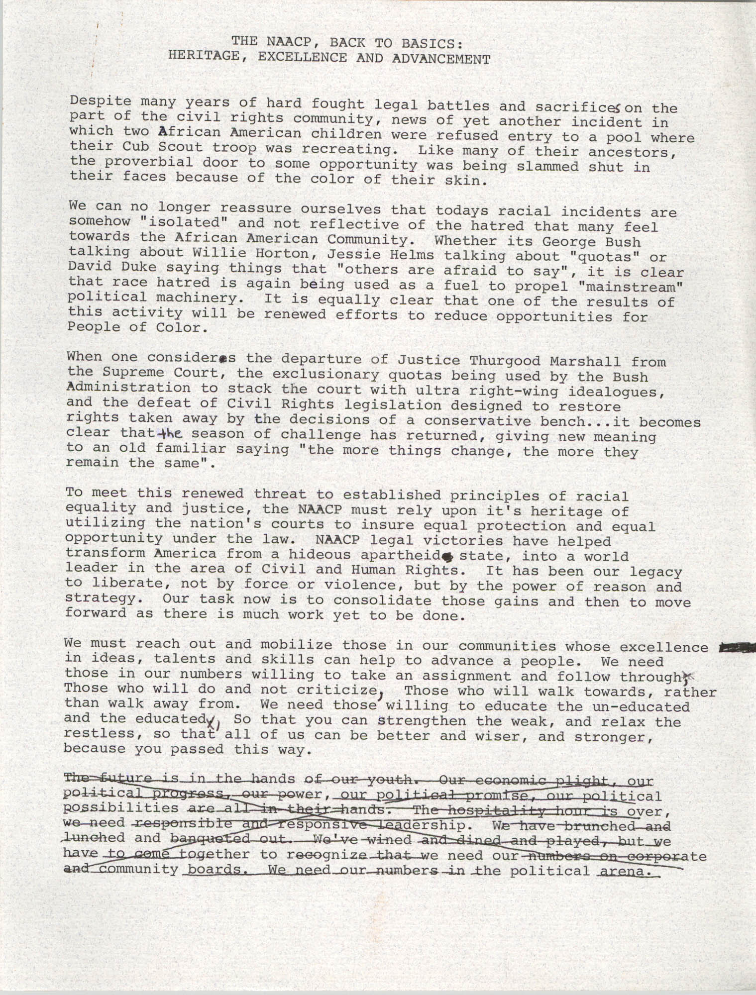 Draft, Speech, Margaret H. Rush, August 24, 1991