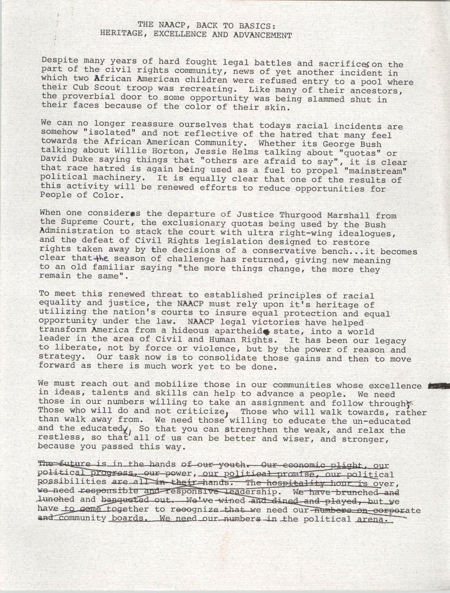 Draft, Speech, Margaret H. Rush, August 24, 1991