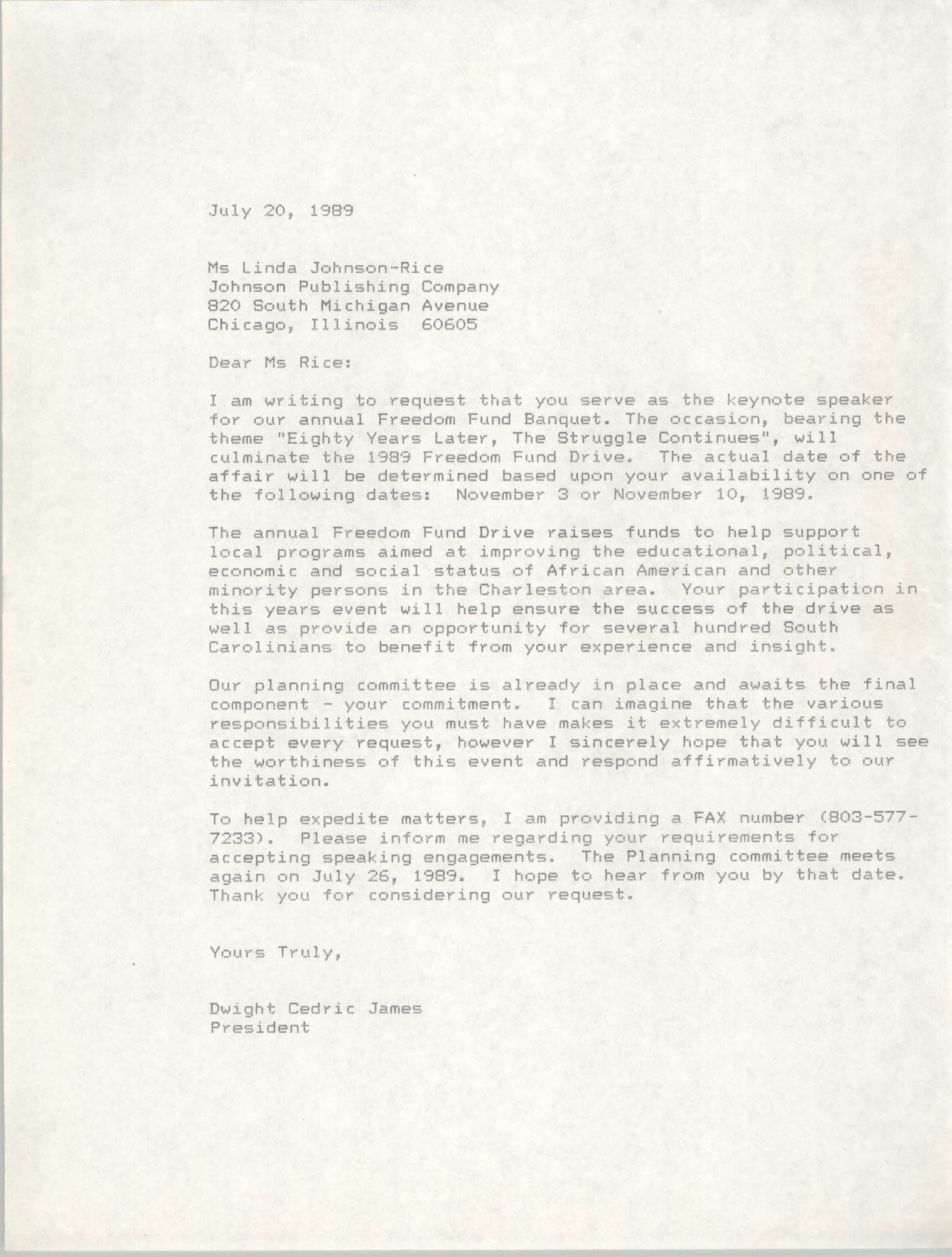 Draft, Letter from Dwight C. James to Linda Johnson-Rice, July 20, 1989