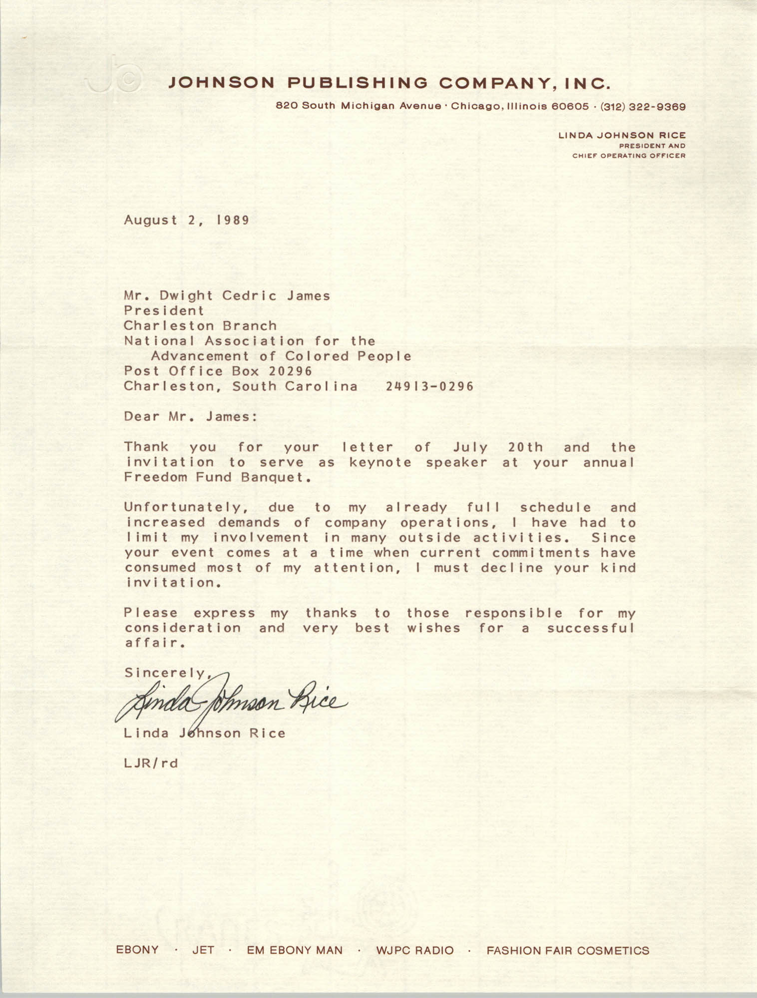 Letter from Linda Johnson-Rice to Dwight C. James, August 2, 1989