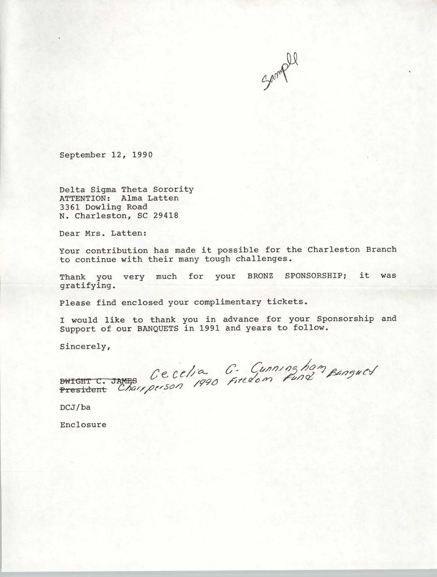 Draft, Letter from Cecilia Gordon-Cunningham to Alma Latten, September 12, 1990