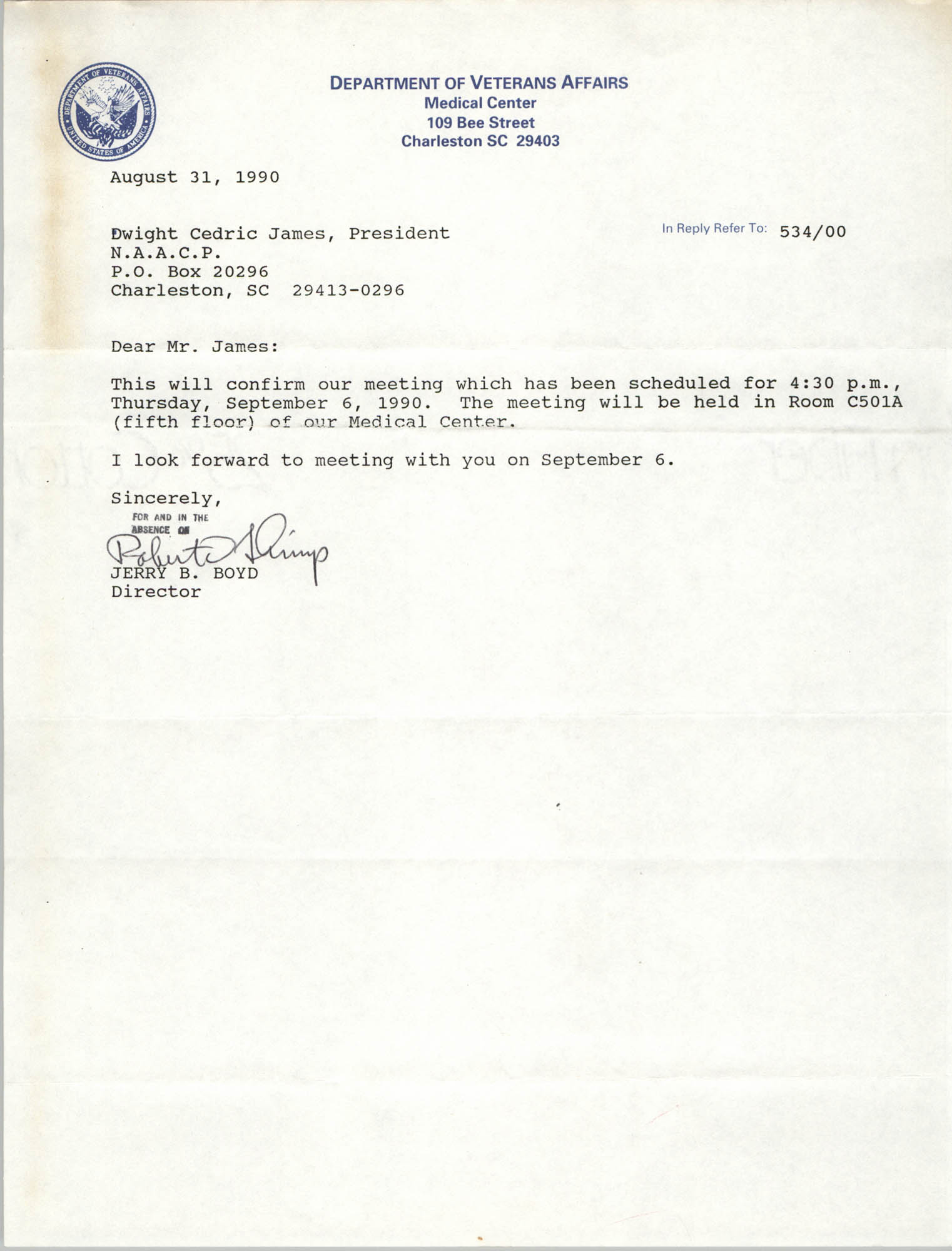 Letter from Jerry B. Boyd to Dwight C. James, August 31, 1990