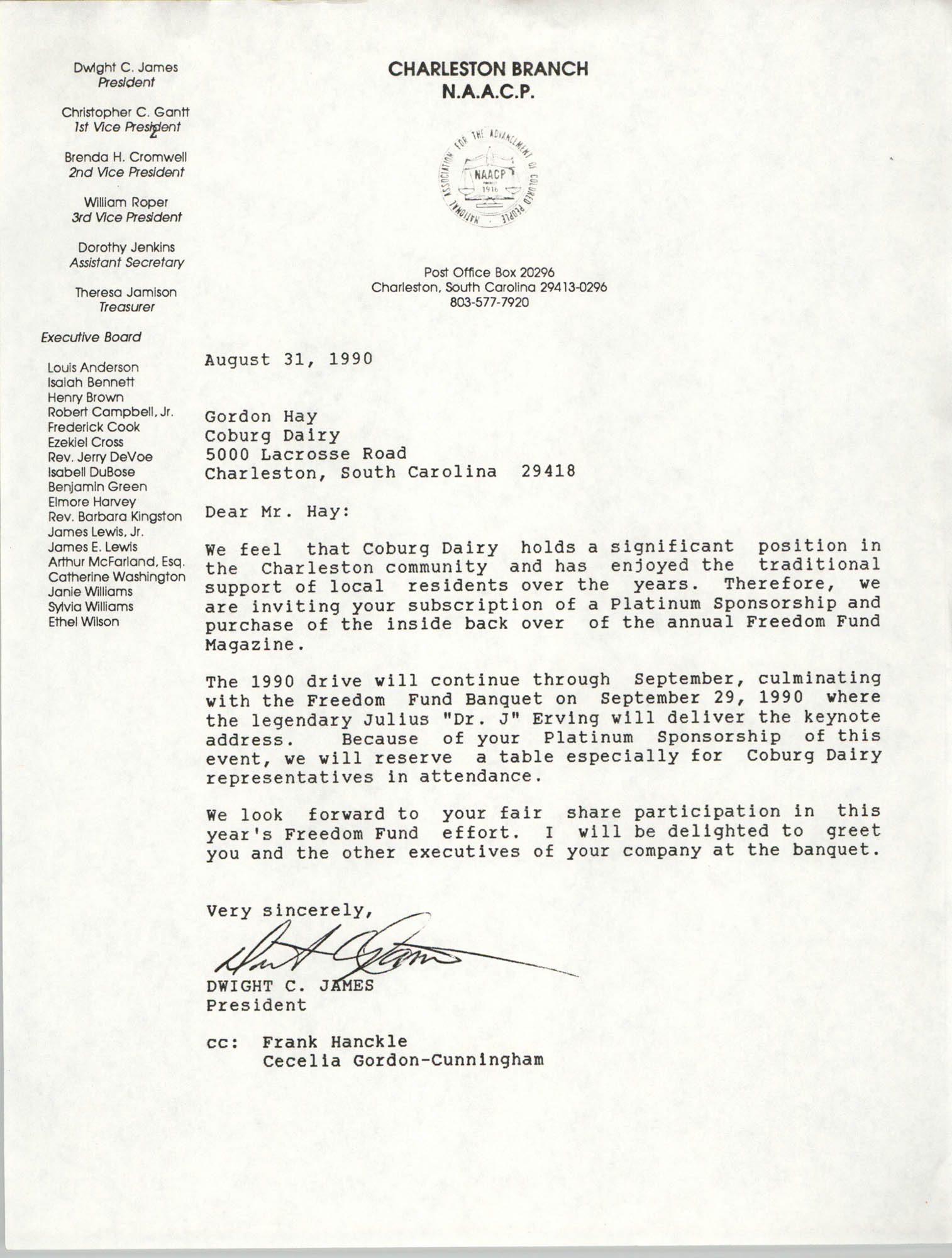 Letter from Dwight C. James to Gordon Hay, August 31, 1990