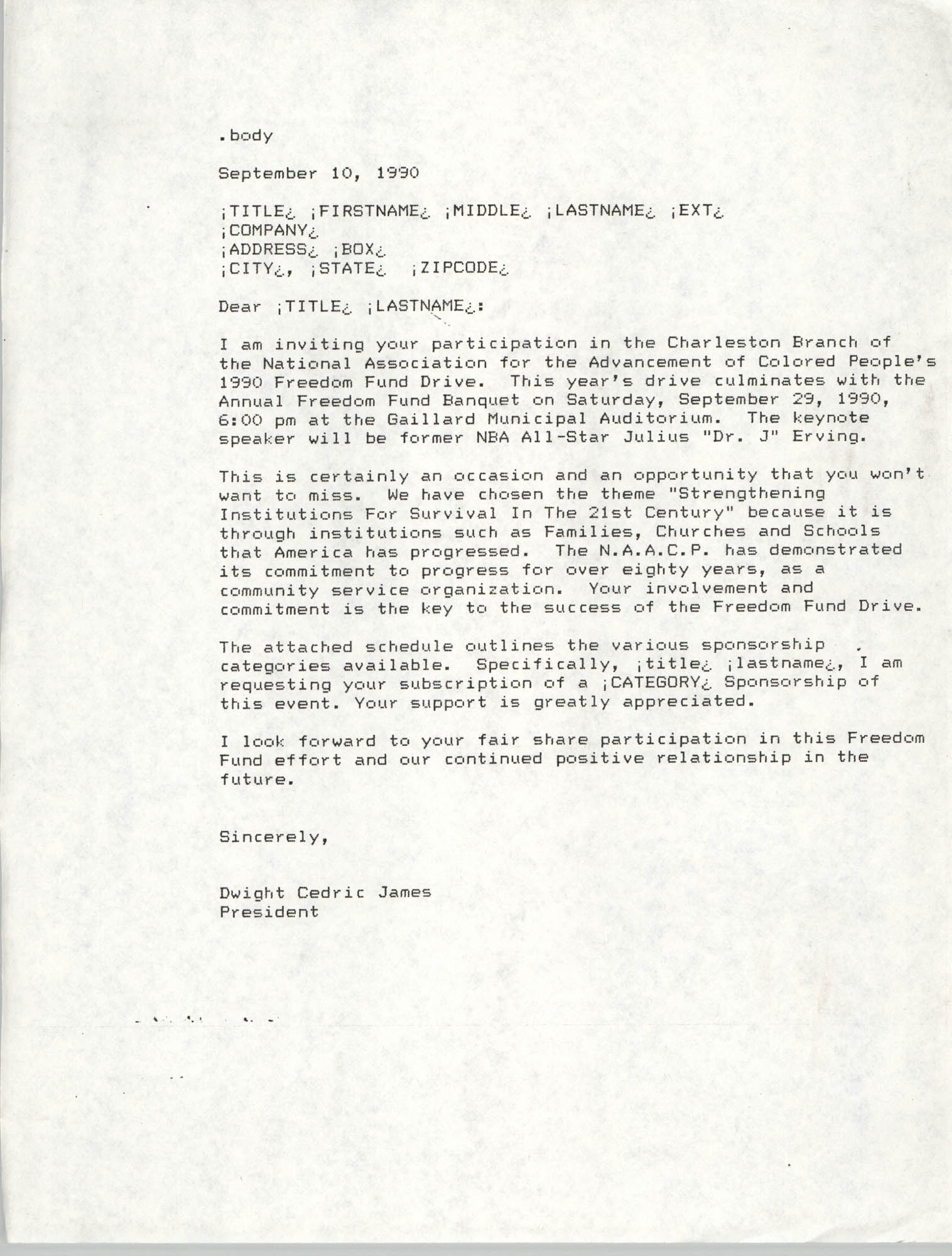 Template, Letter from Dwight C. James, September 10, 1990