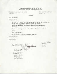 Agenda, Political Action Committee Meeting, Charleston Branch of the NAACP, January 22, 1992