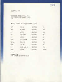Airtime Schedule, WCSC,  Freedom Fund Banquet, Charleston Branch of the NAACP, August 15, 1991