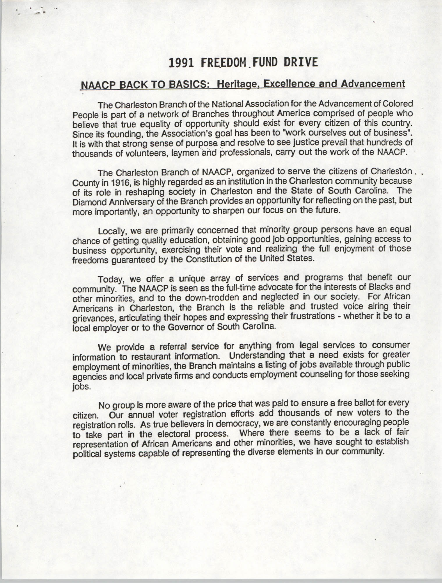 NAACP Back To Basics, 1991 Freedom Fund Drive
