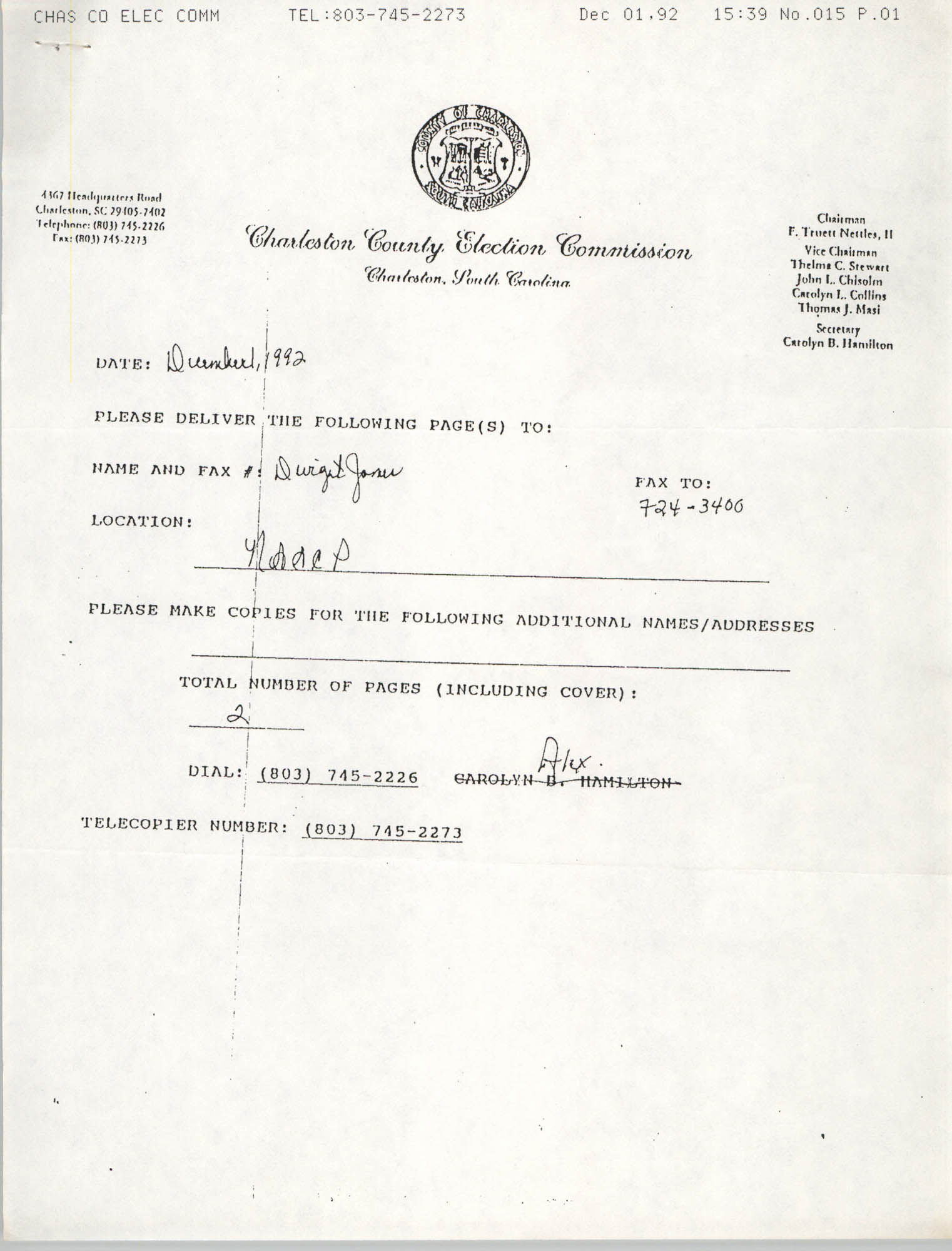 Notice, Charleston County Election Commission, December 1992
