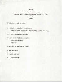Agenda, ACT-SO Planning Committee, NAACP, March 11, 1993