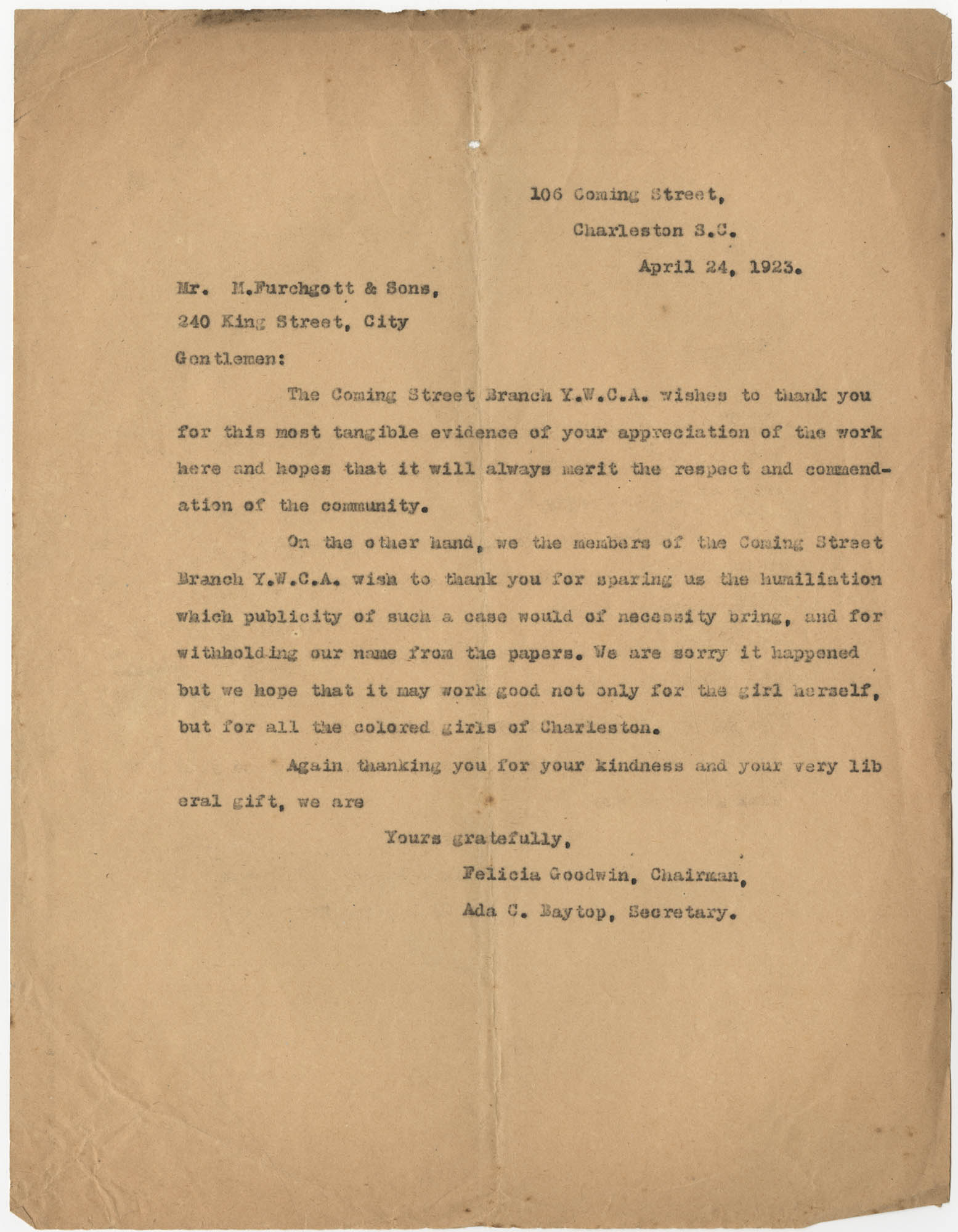 Letter from Felicia Goodwin and Ada C. Baytop to M. Furchgott and Sons, April 24, 1923