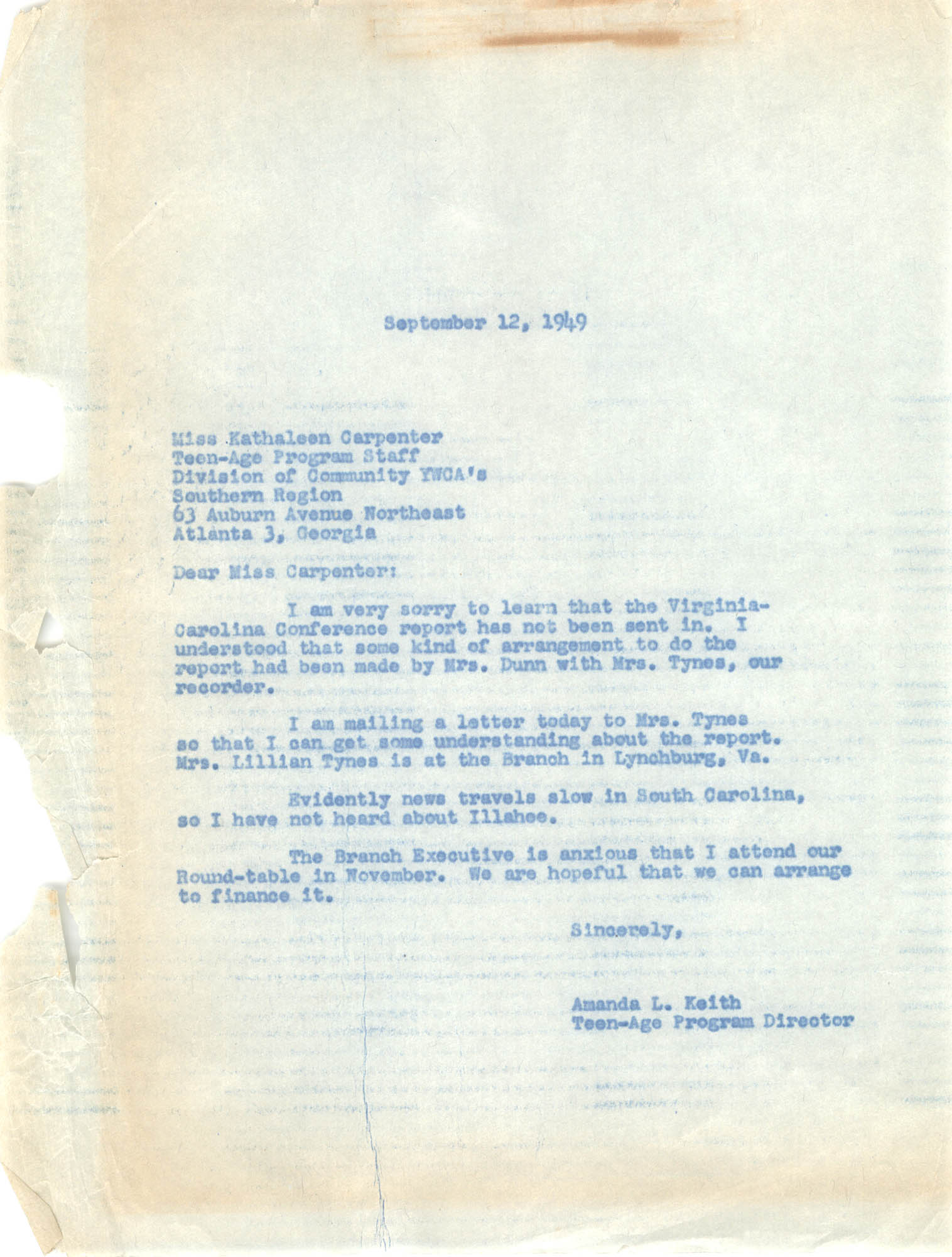 Letter from Amanda Keith to Kathaleen Carpenter, September 12, 1949