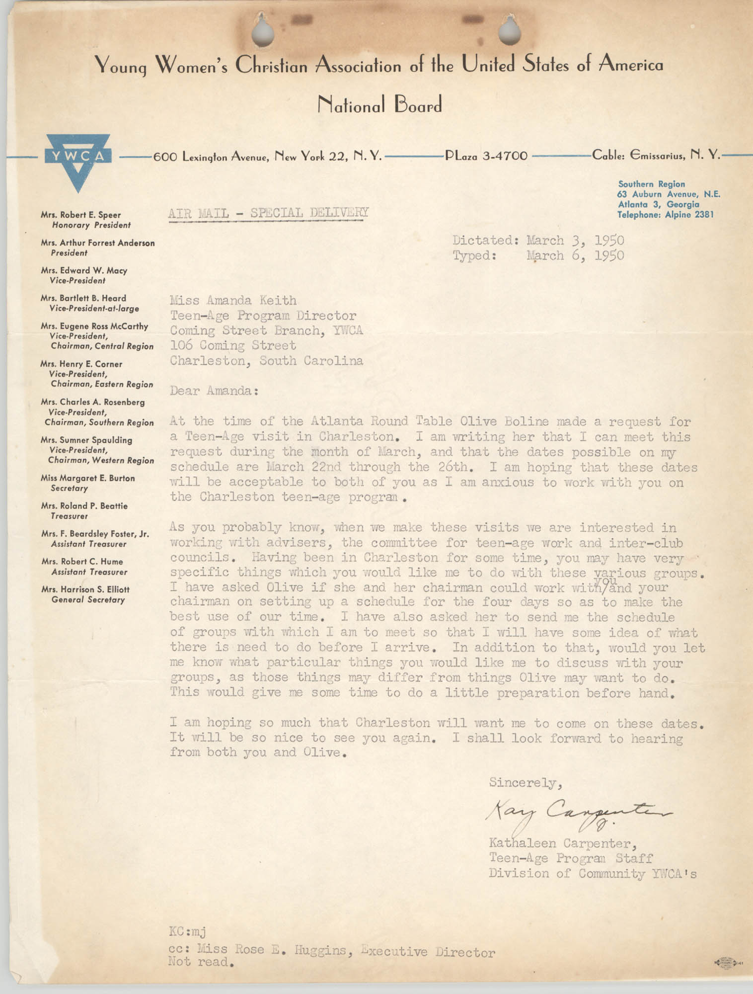 Letter from Kathaleen Carpenter to Amanda Keith, March 6, 1950