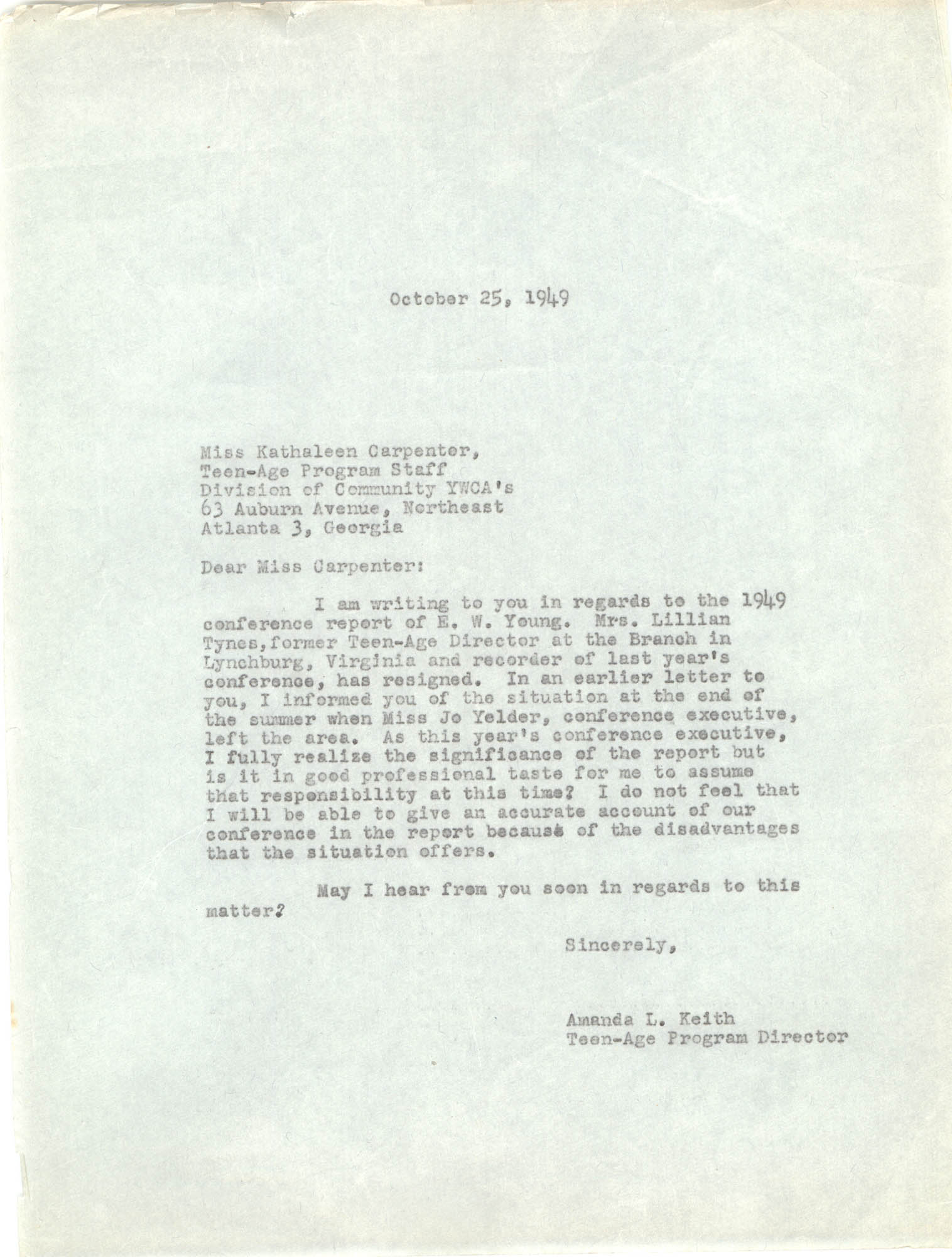 Letter from Amanda Keith to Kathaleen Carpenter, October 25, 1949
