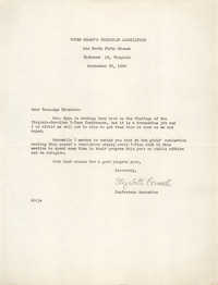 Letter from Elizabeth Conwell to Teen-Age Director for the Y.W.C.A., September 22, 1950