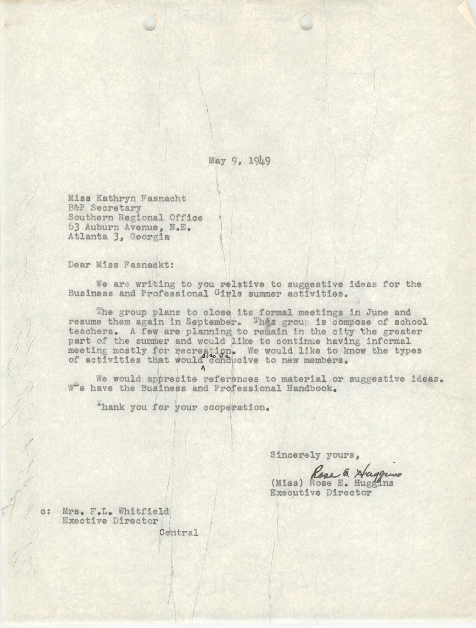 Letter from Rose E. Huggins to Kathryn, Fasnacht, May 9, 1949