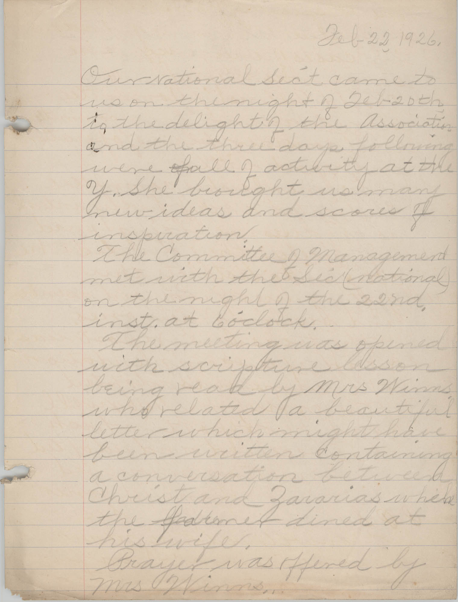 Minutes to the Board of Management, Coming Street Y.W.C.A., February 22, 1926