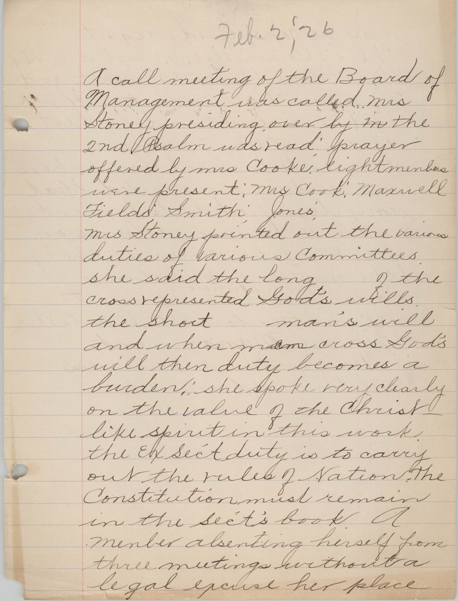 Minutes to the Board of Management, Coming Street Y.W.C.A., February 2, 1926