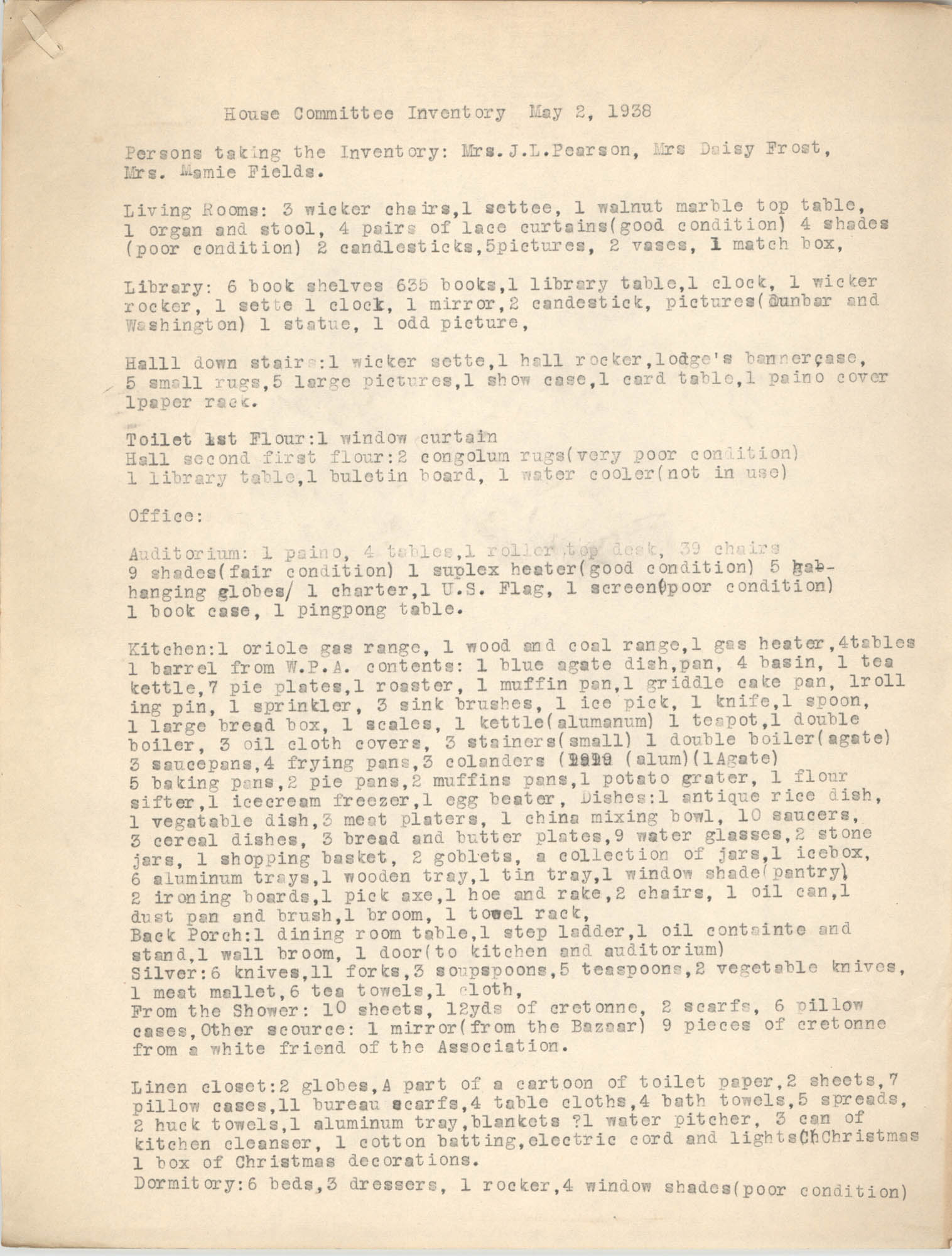 House Committee Inventory for the Coming Street Y.W.C.A., May 2, 1938