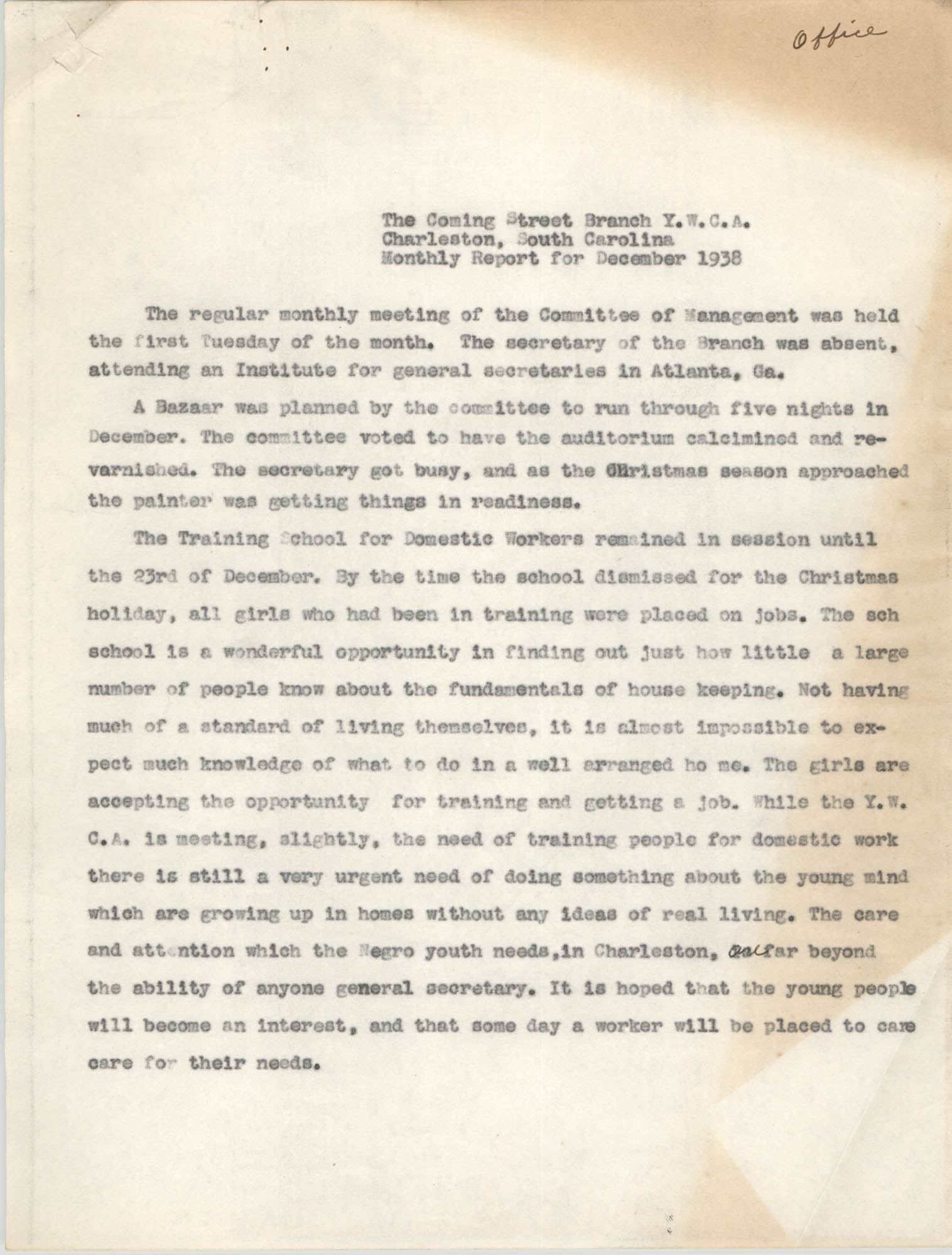 Monthly Report for the Coming Street Y.W.C.A., December 1938