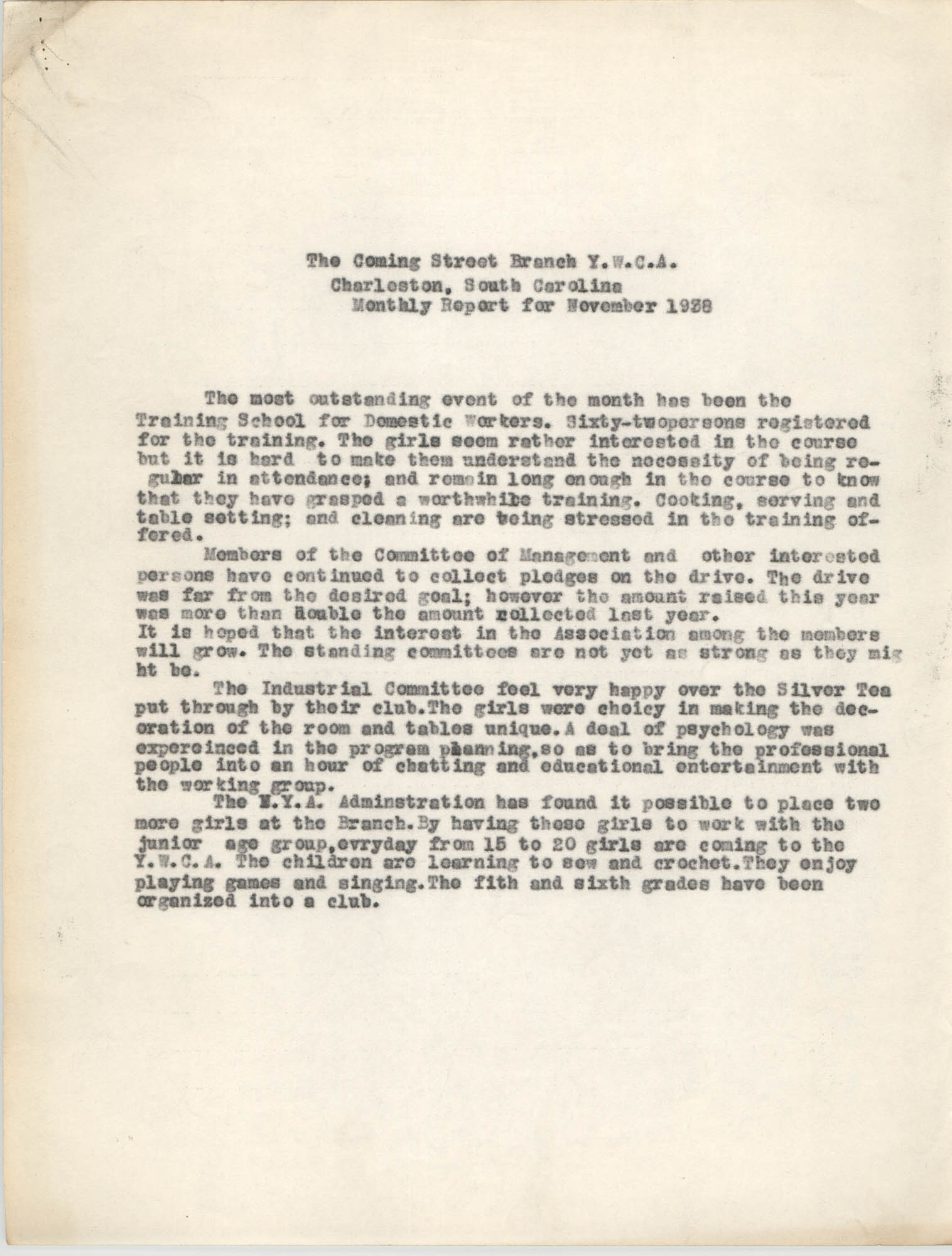 Monthly Report for the Coming Street Y.W.C.A., November 1938