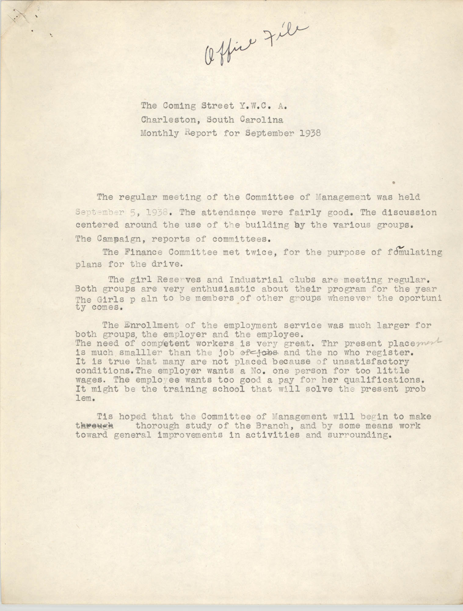 Monthly Report for the Coming Street Y.W.C.A., September 1938