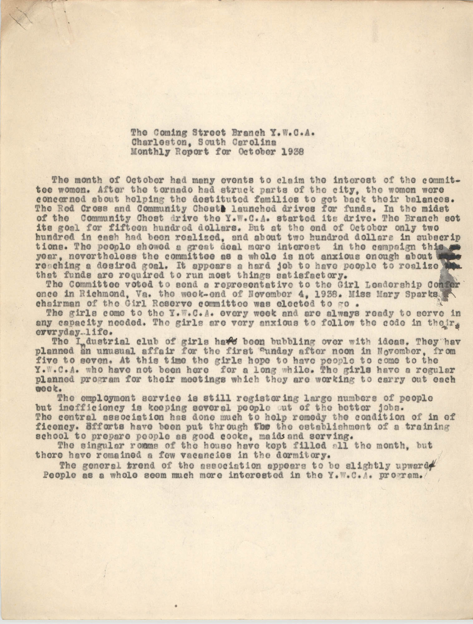 Monthly Report for the Coming Street Y.W.C.A., October 1938