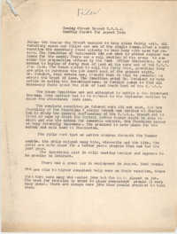 Monthly Report for the Coming Street Y.W.C.A., August 1938