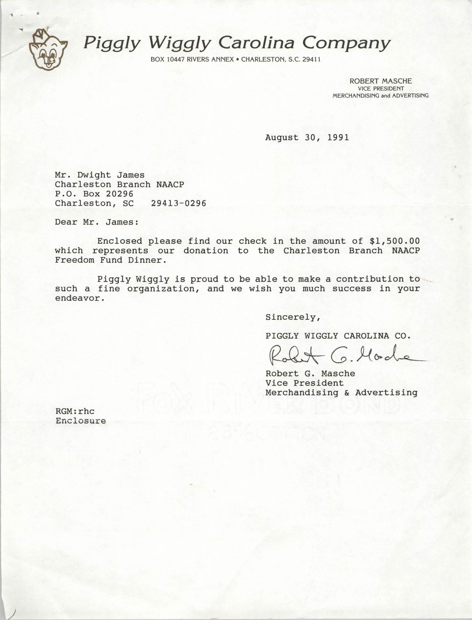Letter from Robert G. Masche to Dwight James, August 30, 1991