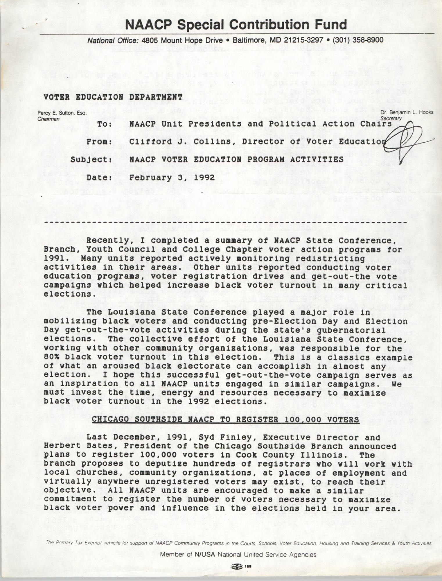 Memorandum, Clifford J. Collins, February 3, 1992