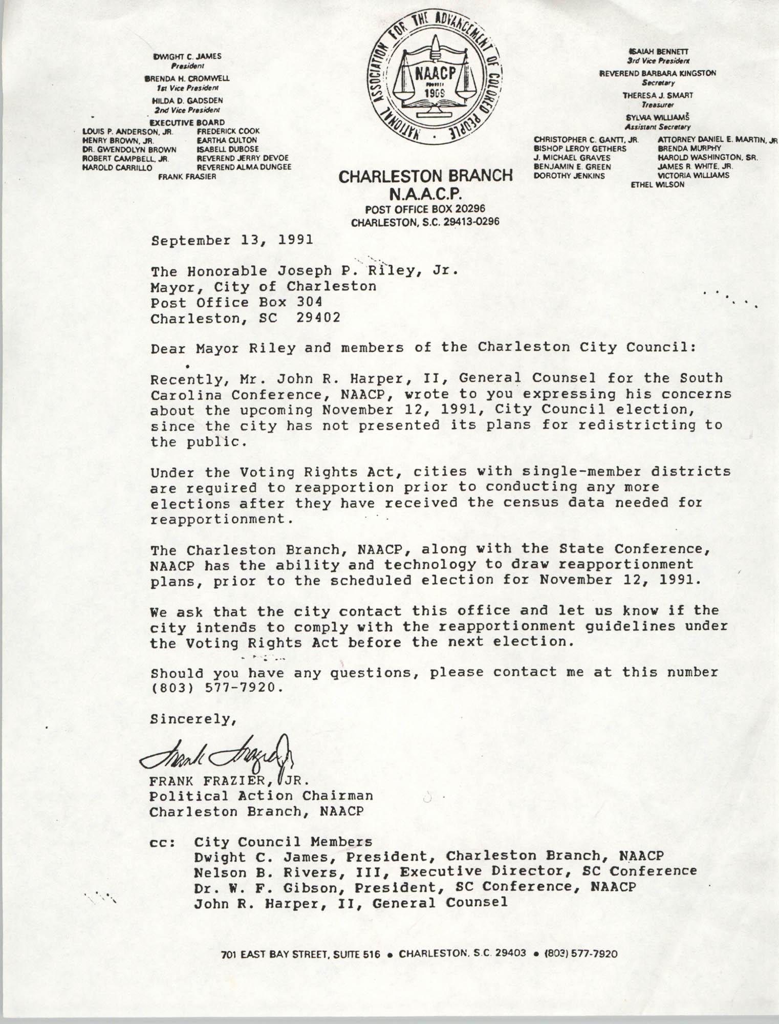 Letter from Frank Frazier, Jr. to Joseph P. Riley, Jr., September 13, 1991