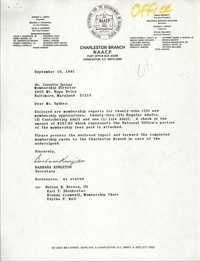 Letter from Barbara Kingston to Isazetta Spikes, September 10, 1991