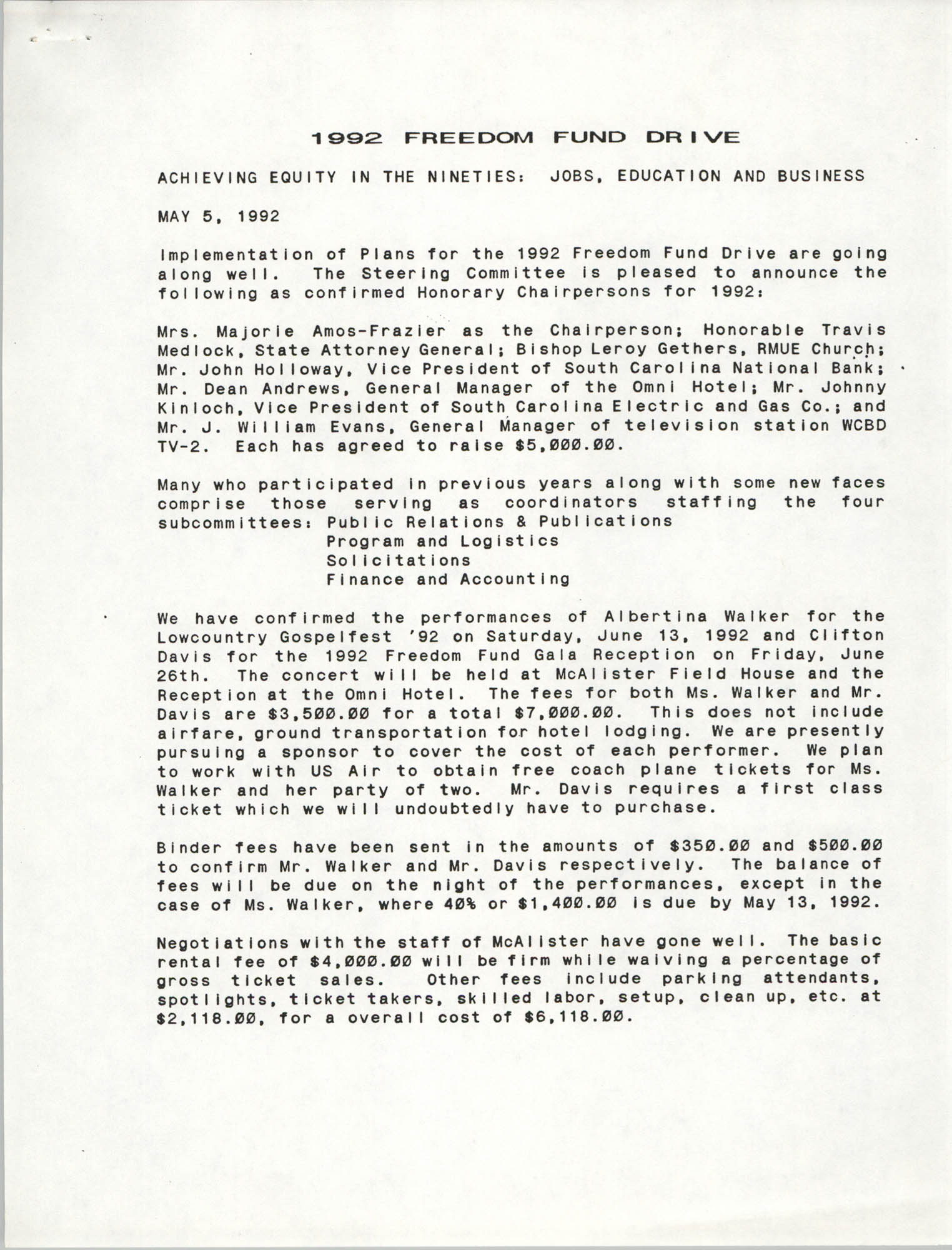 Report, Freedom Fund Drive, Dwight James et. al, May 5, 1992