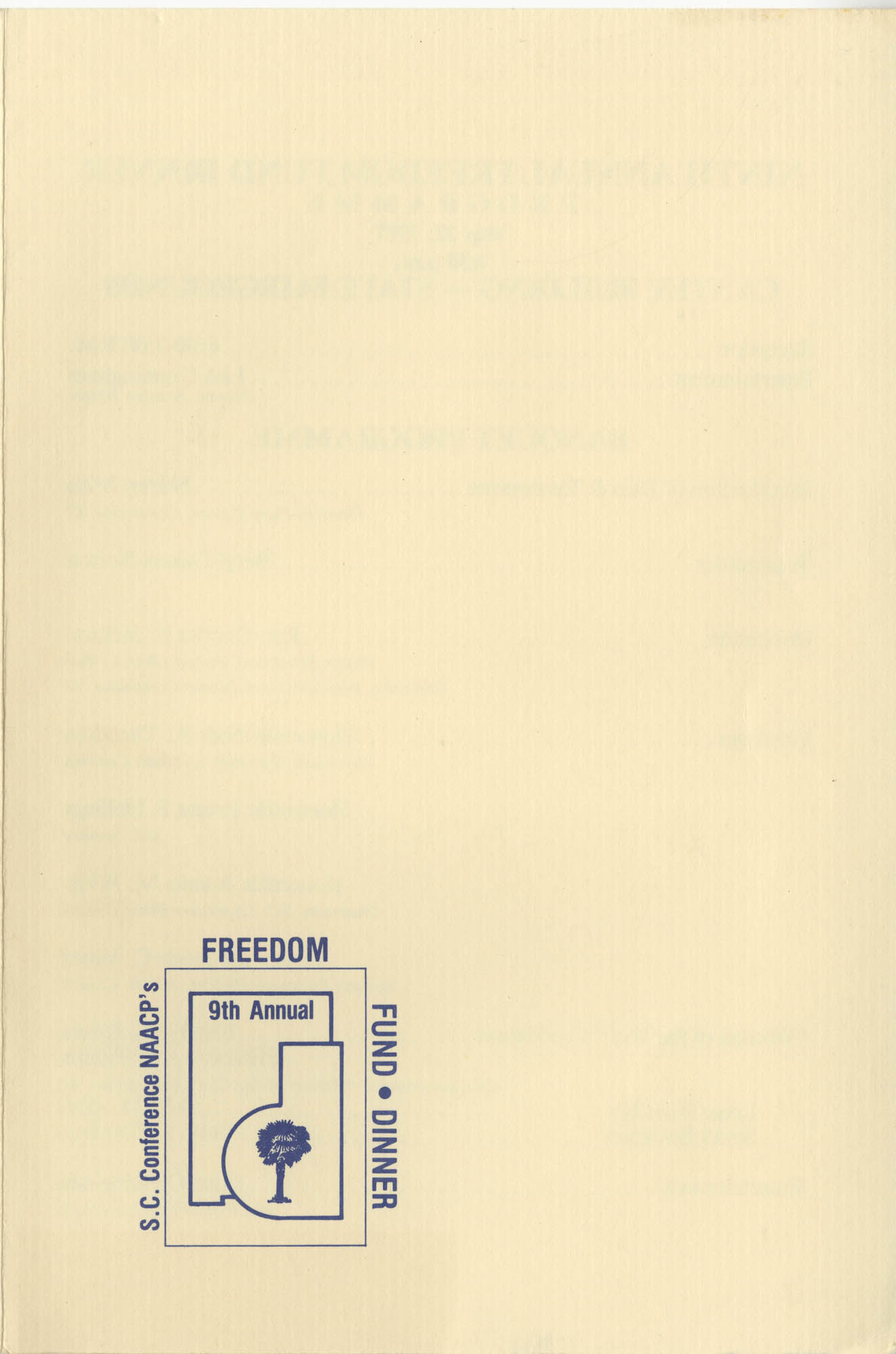 Program, 9th Annual Freedom Fund Dinner, NAACP, S.C. Conference, May 22, 1987