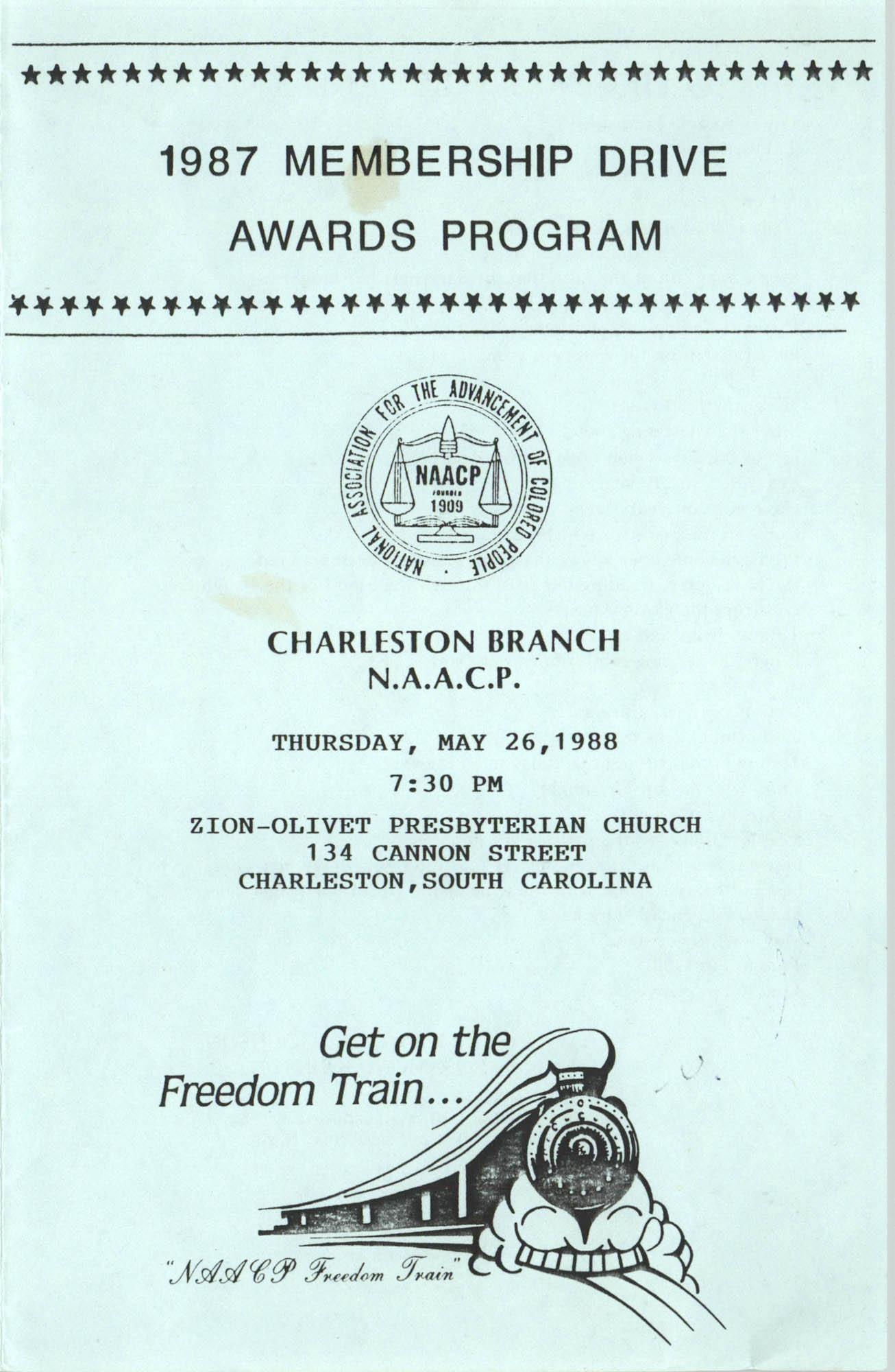 1987 Membership Drive Awards Program, Brochure, Charleston Branch of the NAACP, May 26, 1988