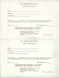 Ticket Order Form, Freedom Fund Banquet, Charleston Branch of the NAACP, 1987
