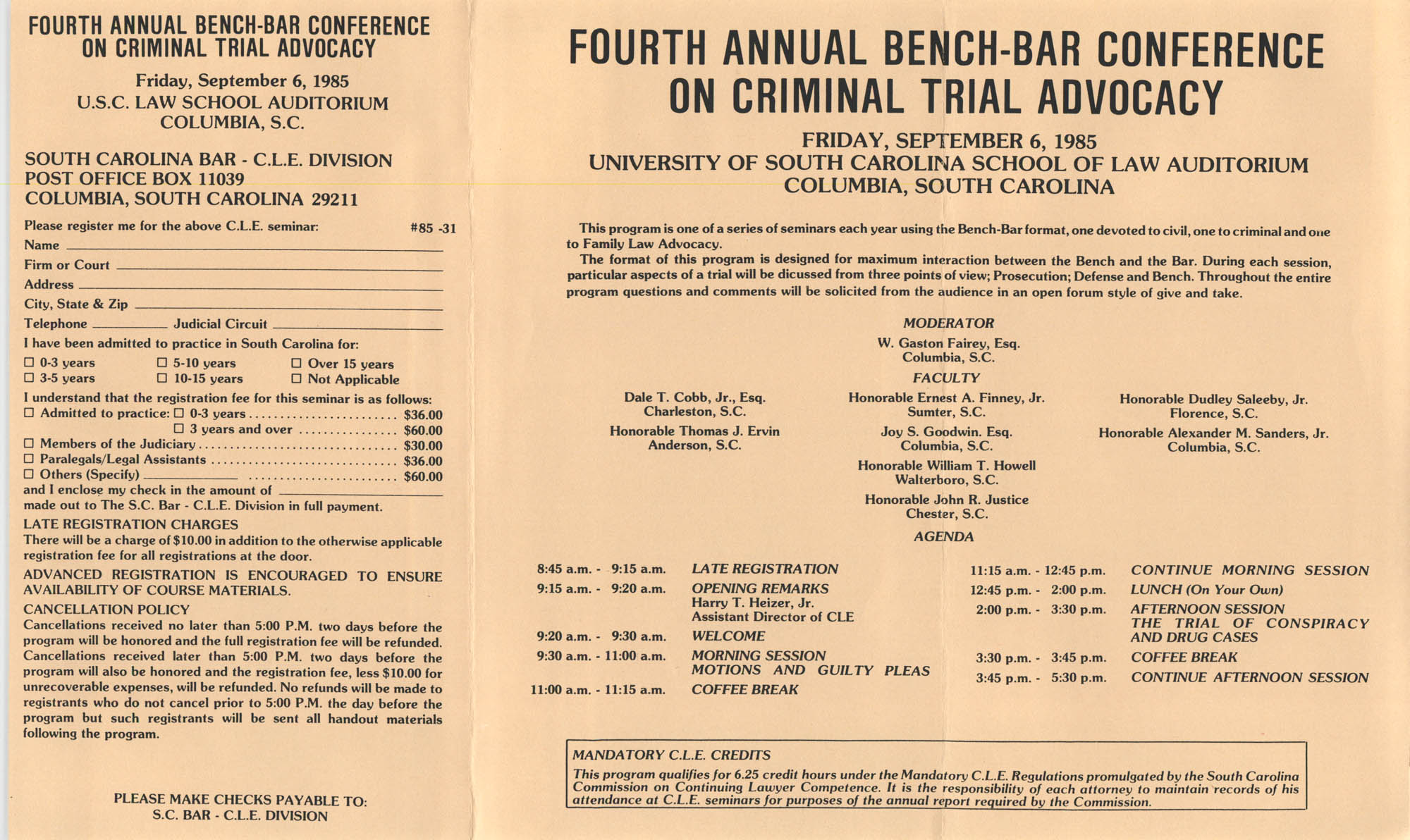 Fourth Annual Bench-Bar Conference on Criminal Trial Advocacy, Continuing Legal Education Seminar Pamphlet, September 6, 1985