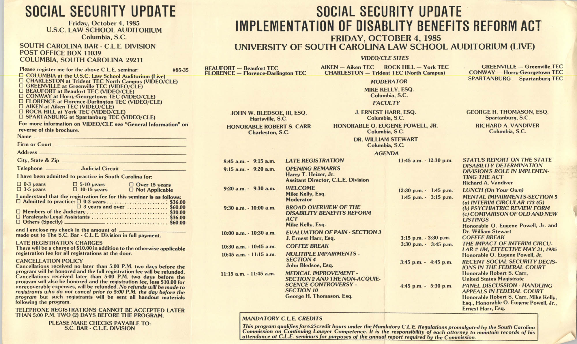 Social Security Update Implementation of Disability Benefits Reform Act, Video/CLE Seminar Pamphlet, October 4, 1985