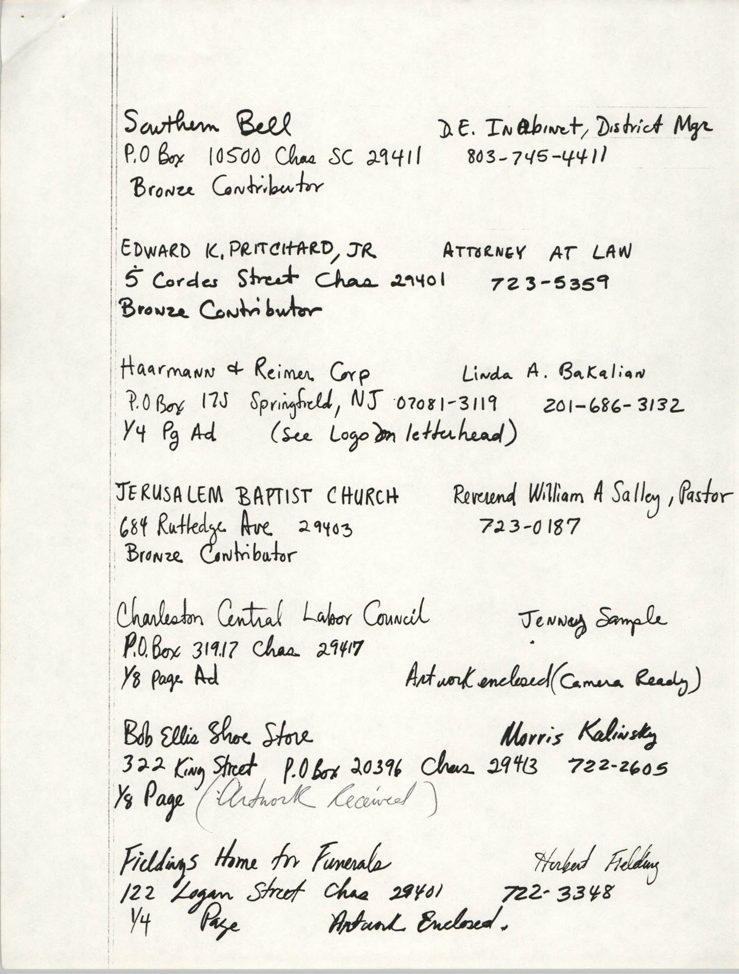 Handwritten list of individuals and companies