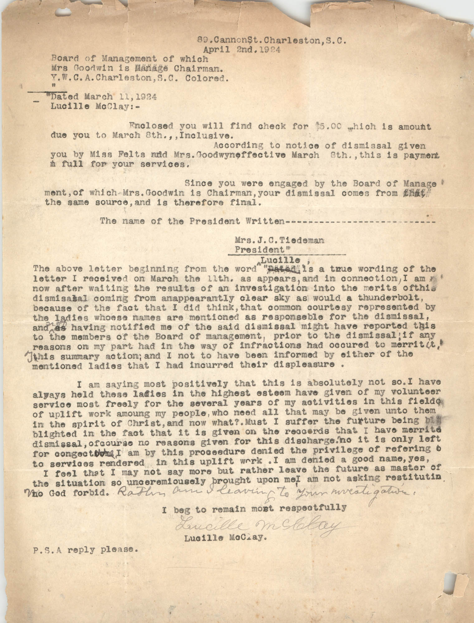 Letter from Coming Street Y.W.C.A., April 2, 1924