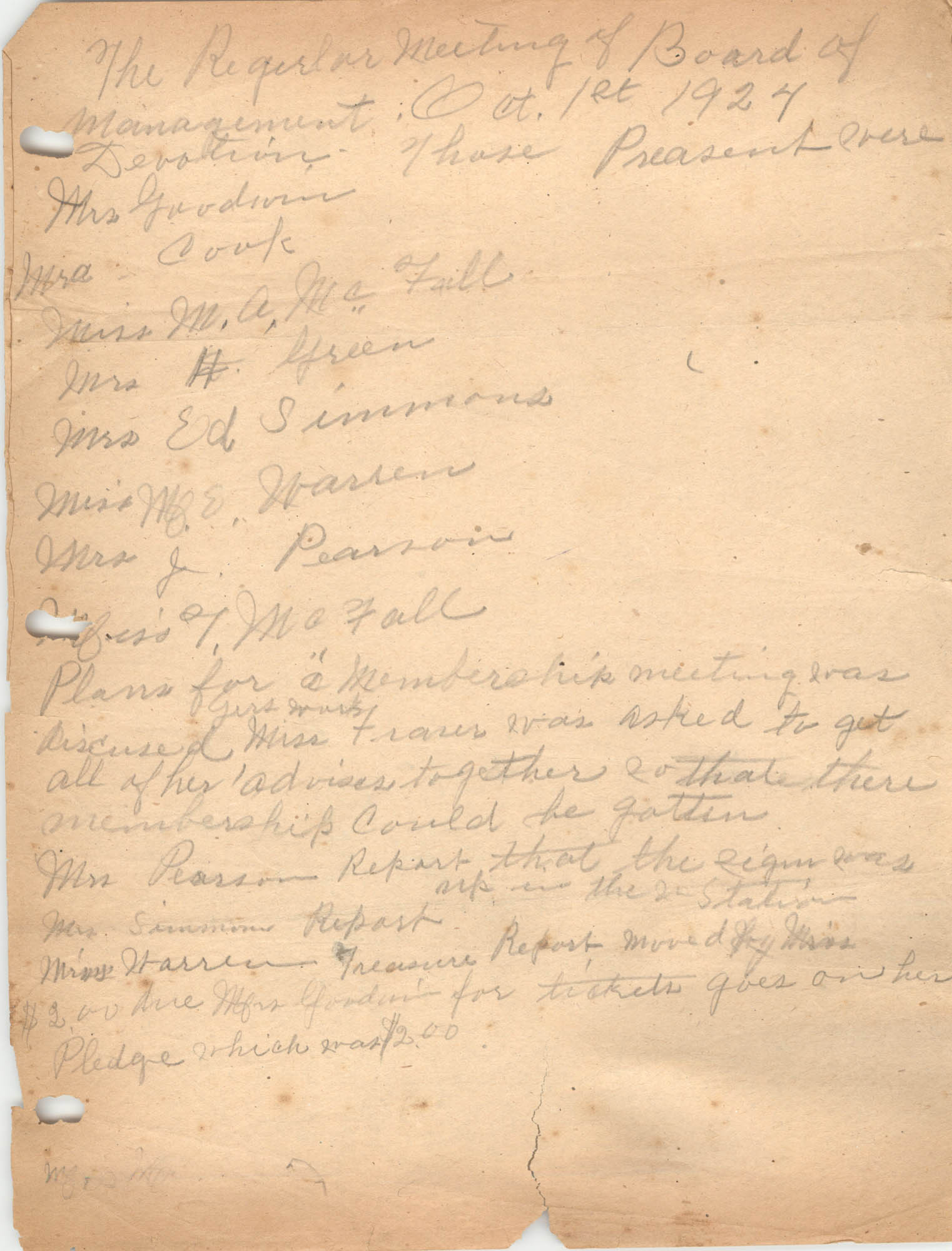 Minutes to the Board of Management, Coming Street Y.W.C.A., October 1, 1924