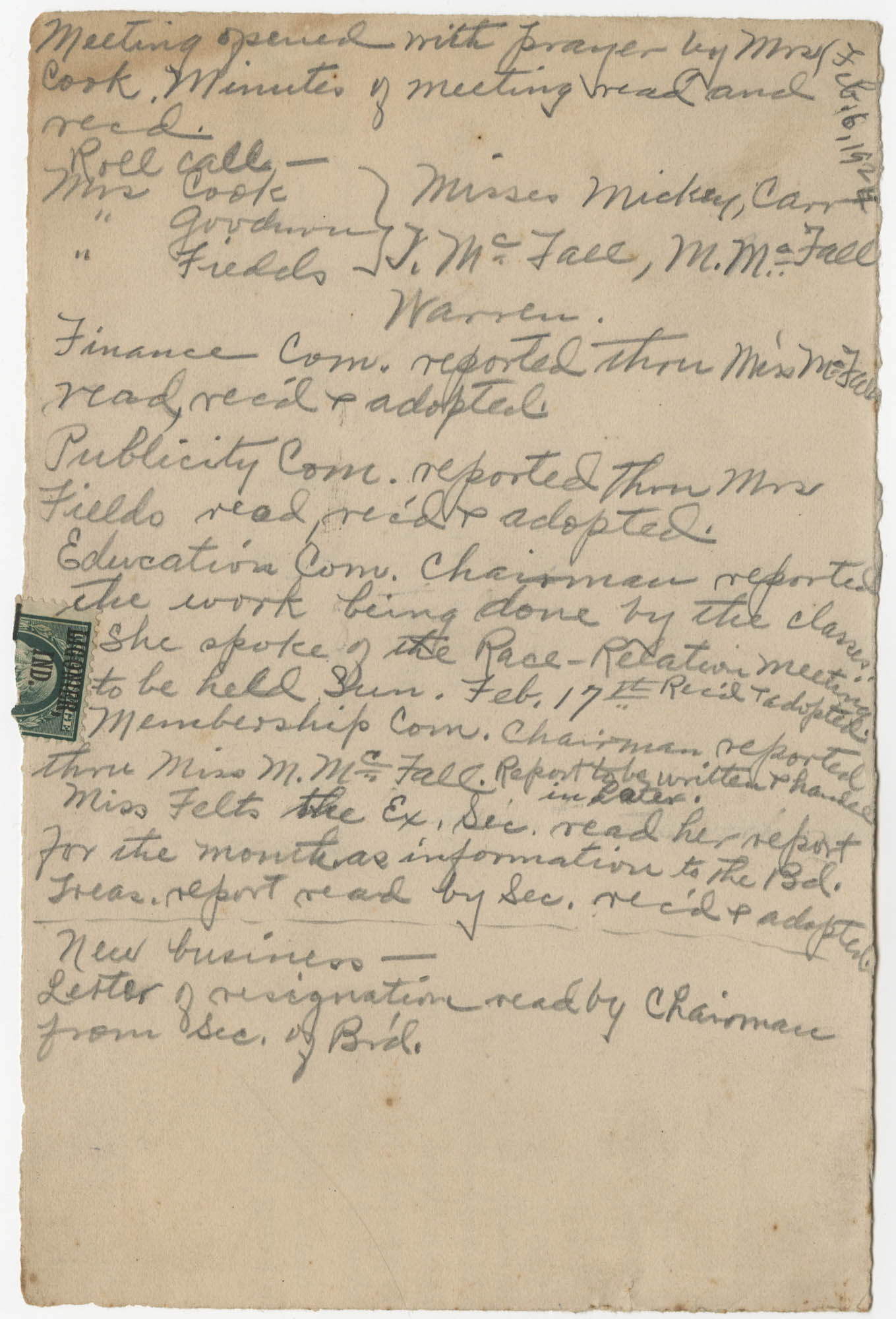 Minutes, Coming Street Y.W.C.A., February 6, 1924